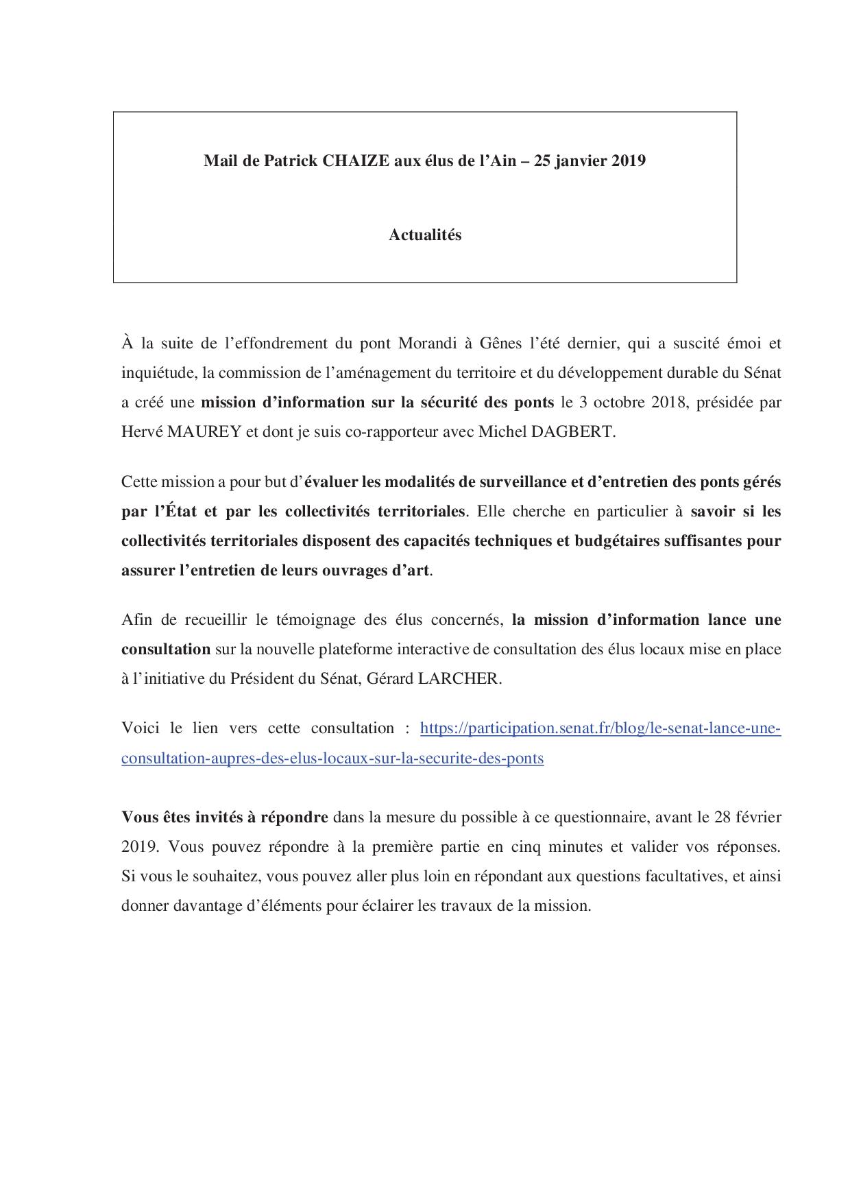 Communiqué <br>n°38<br> 25 janvier 2019