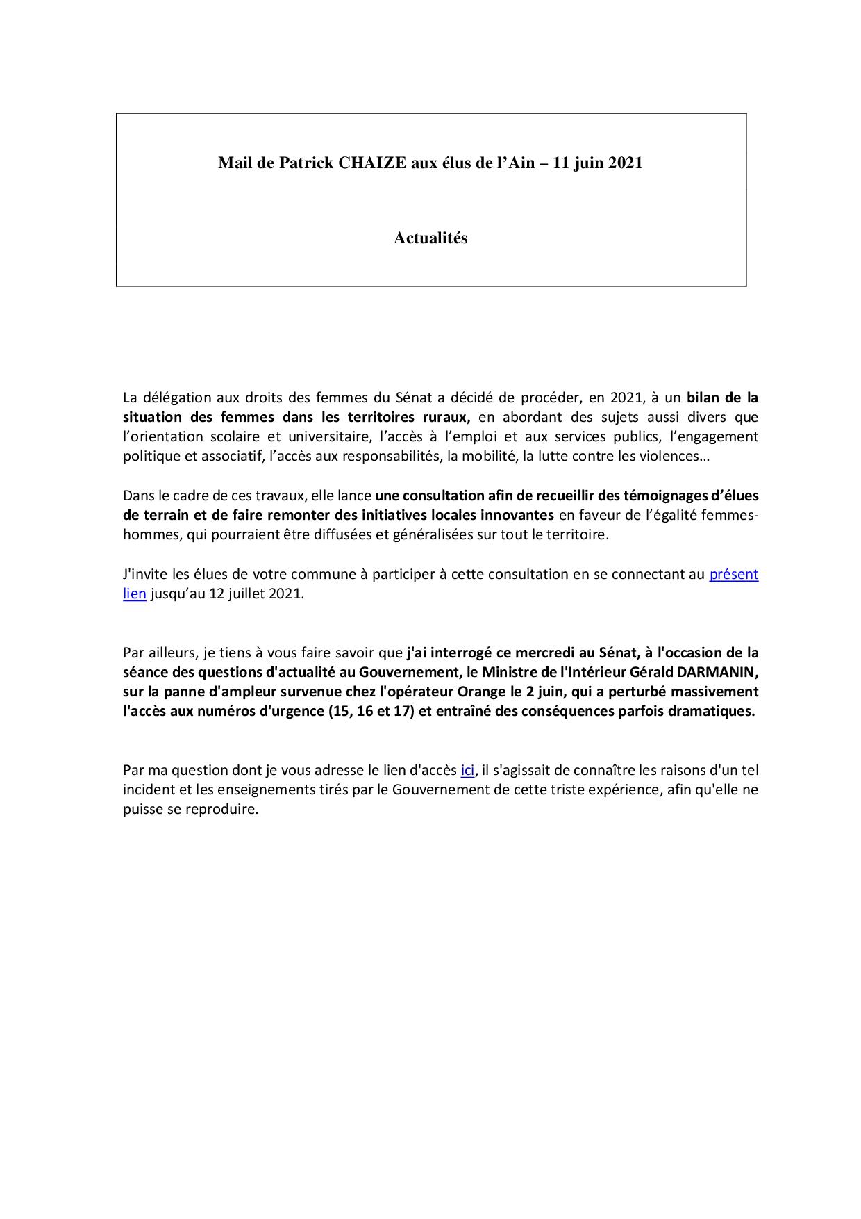 Mail_Information_Communiqué_Elus_Ain_N°77_20210611