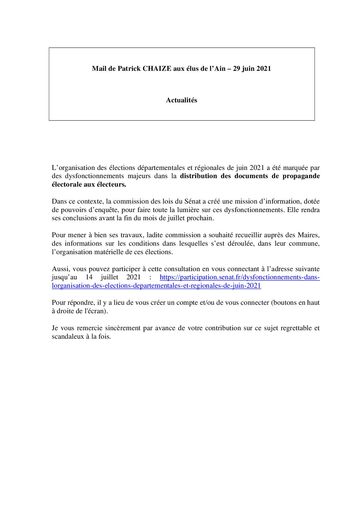 Mail_Information_Communiqué_Elus_Ain_N°78_20210629