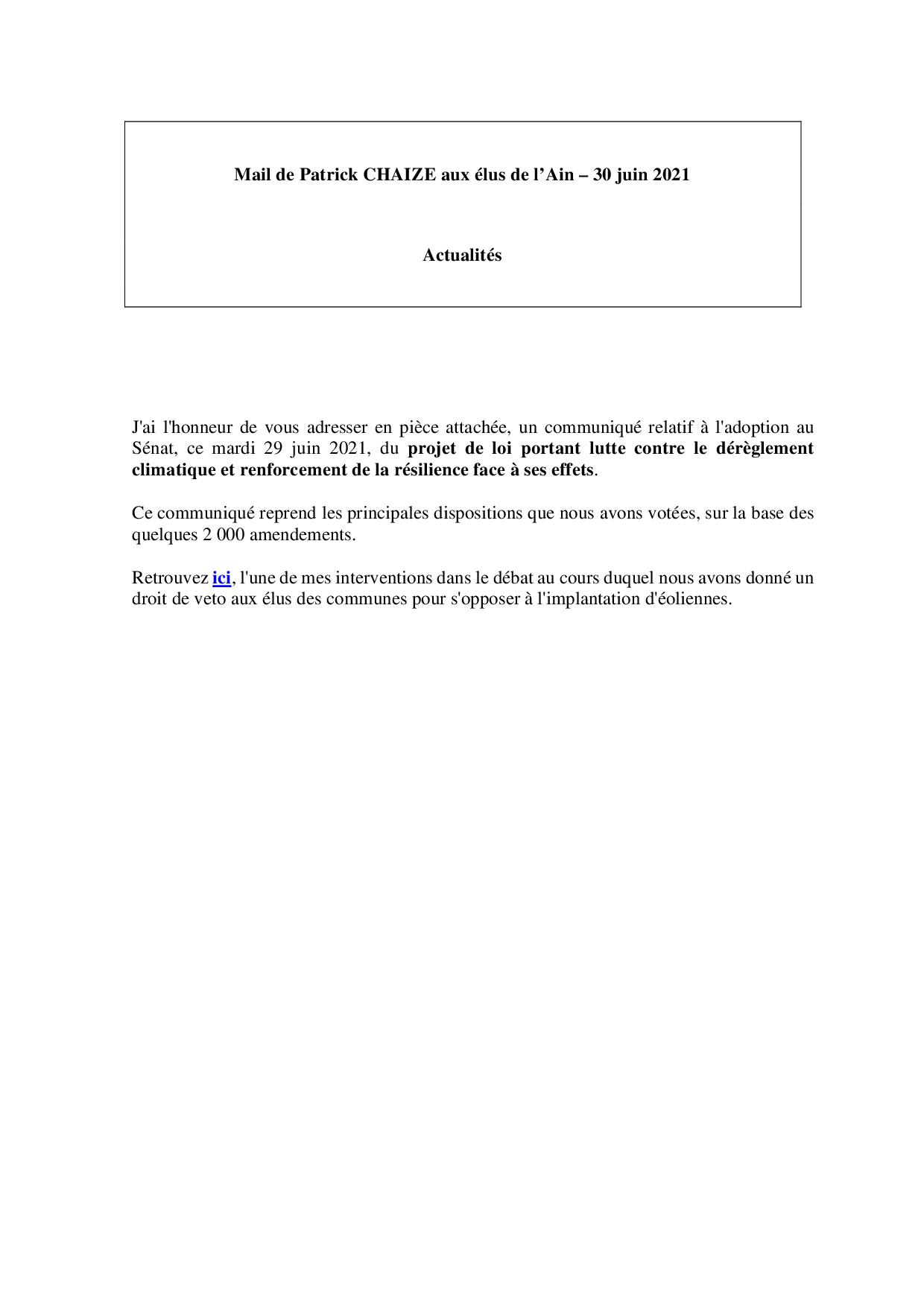Mail_Information_Communiqué_Elus_Ain_N°79_20210630