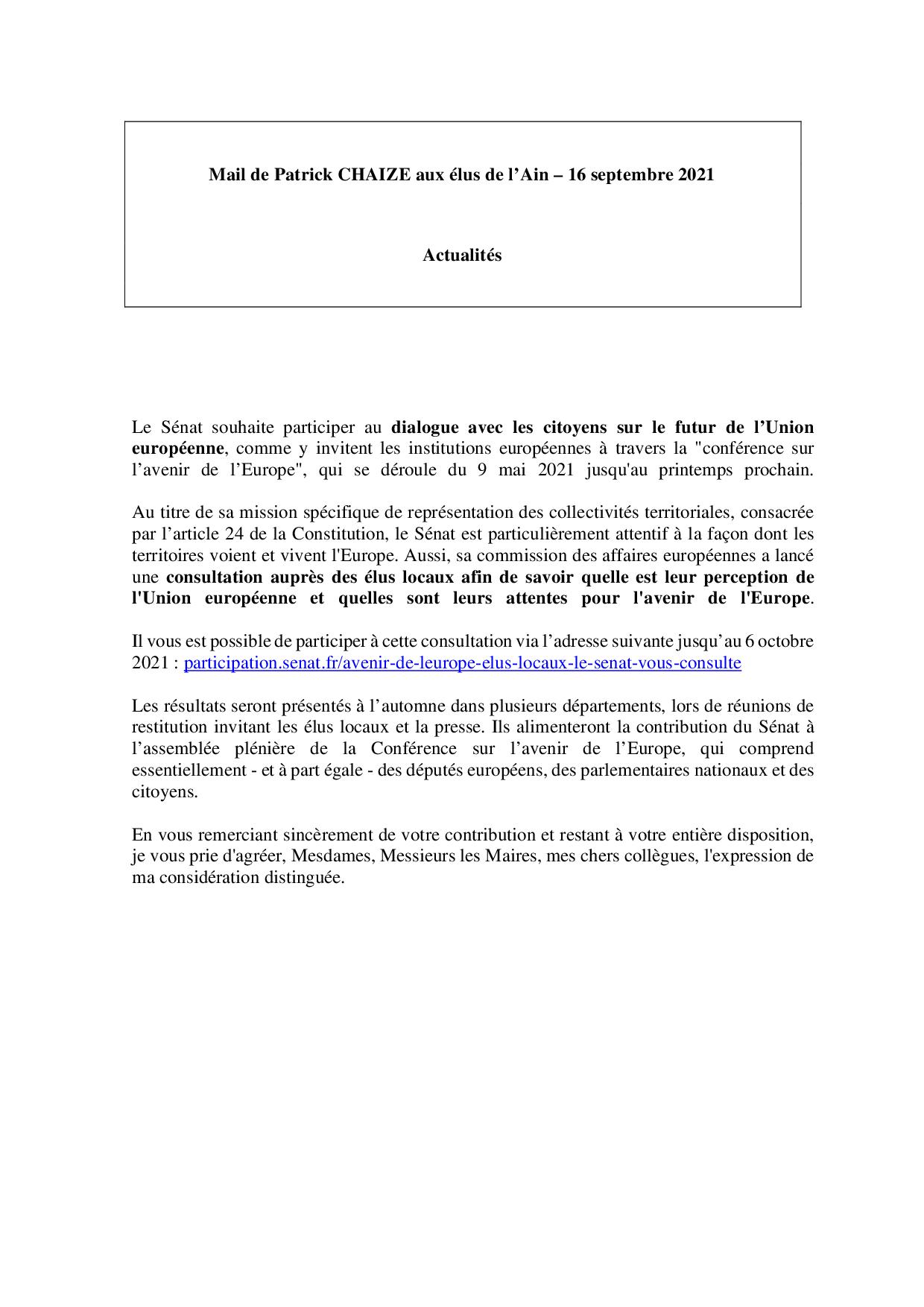 Mail_Information_Communiqué_Elus_Ain_N°81_20210916