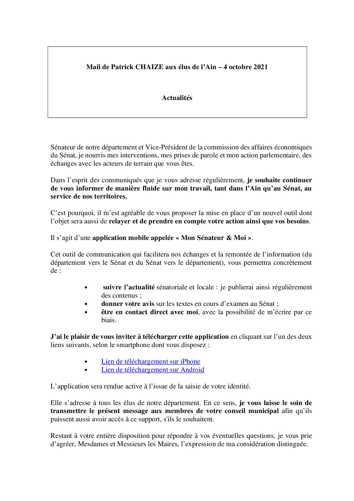 Mail_Information_Communiqué_Elus_Ain_N°82_20211004
